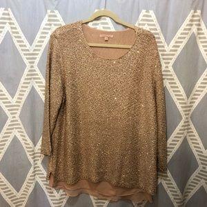 ☃️ Gibson Latimer Blush Metallic Sweater